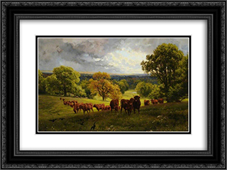 Landscape in Wiltshire 24x18 Black or Gold Ornate Framed and Double Matted Art Print by Henry William Banks Davis