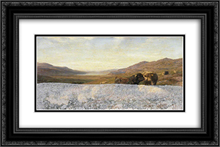 Landscape with Cattle, Evening 24x16 Black or Gold Ornate Framed and Double Matted Art Print by Henry William Banks Davis