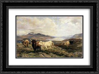 Landscape with Cattle, Morning 24x18 Black or Gold Ornate Framed and Double Matted Art Print by Henry William Banks Davis