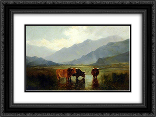 Landscape with Cattle 24x18 Black or Gold Ornate Framed and Double Matted Art Print by Henry William Banks Davis