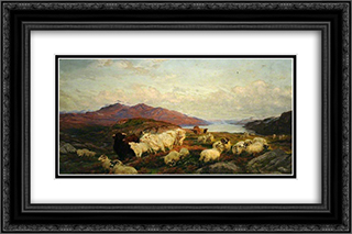 Landscape with Cattle and Sheep 24x16 Black or Gold Ornate Framed and Double Matted Art Print by Henry William Banks Davis