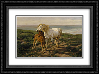 Mother and Son 24x18 Black Ornate Framed and Double Matted Art Print by Henry William Banks Davis