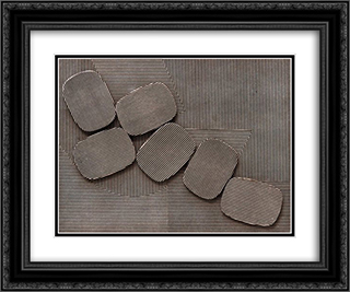 Collage 24x20 Black or Gold Ornate Framed and Double Matted Art Print by Henryk Stazewski