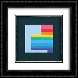 Composition, 1978 20x20 Black or Gold Ornate Framed and Double Matted Art Print by Henryk Stazewski