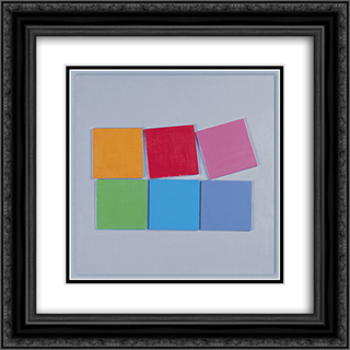 Composition no. 13 20x20 Black or Gold Ornate Framed and Double Matted Art Print by Henryk Stazewski