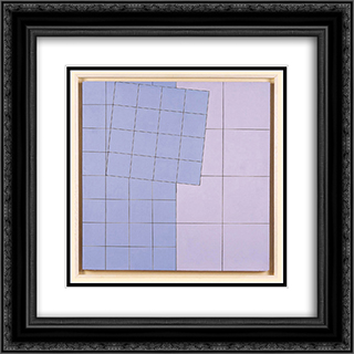 Composition No. 21 20x20 Black or Gold Ornate Framed and Double Matted Art Print by Henryk Stazewski