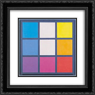 Composition No. 33 20x20 Black or Gold Ornate Framed and Double Matted Art Print by Henryk Stazewski