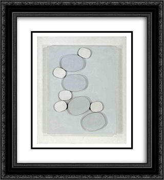 Grey - White Relief #2 20x22 Black or Gold Ornate Framed and Double Matted Art Print by Henryk Stazewski