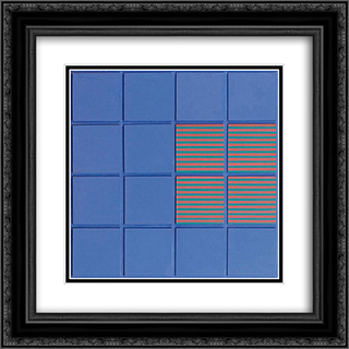 Relief no. 11 20x20 Black or Gold Ornate Framed and Double Matted Art Print by Henryk Stazewski