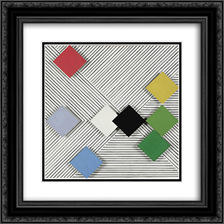 Relief nr. 18 20x20 Black or Gold Ornate Framed and Double Matted Art Print by Henryk Stazewski