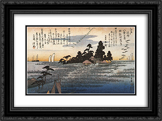 A shrine among trees on a moor 24x18 Black or Gold Ornate Framed and Double Matted Art Print by Hiroshige