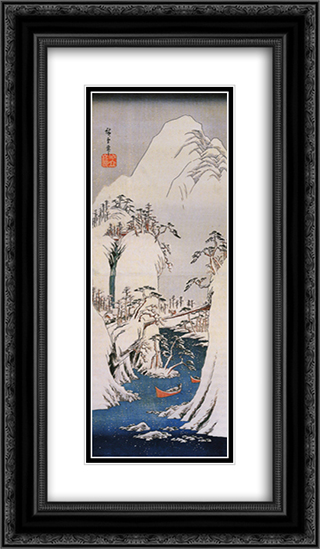 A snowy gorge 14x24 Black or Gold Ornate Framed and Double Matted Art Print by Hiroshige