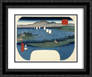 Ama No Hashidate in Tango Province 24x20 Black or Gold Ornate Framed and Double Matted Art Print by Hiroshige