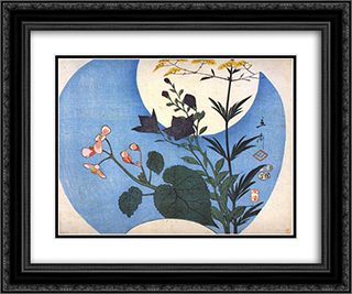 Autumn flowers in front of full moon 24x20 Black or Gold Ornate Framed and Double Matted Art Print by Hiroshige
