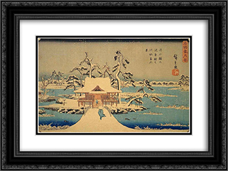Benzaiten Shrine at Inokashira in Snow 24x18 Black or Gold Ornate Framed and Double Matted Art Print by Hiroshige