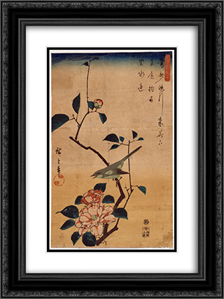 Camellia and Bush Warbler 18x24 Black or Gold Ornate Framed and Double Matted Art Print by Hiroshige