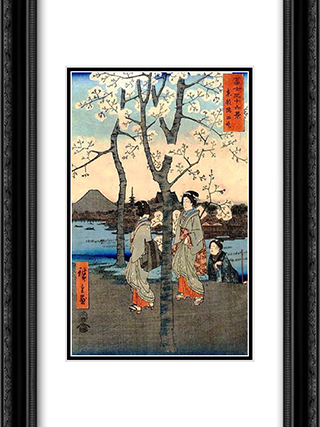 Cherry Tree 18x24 Black or Gold Ornate Framed and Double Matted Art Print by Hiroshige