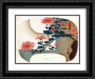 Chrysanthemums 24x20 Black or Gold Ornate Framed and Double Matted Art Print by Hiroshige