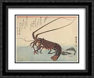 Crayfish and two shrimps 24x20 Black or Gold Ornate Framed and Double Matted Art Print by Hiroshige