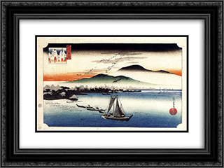 Descending Geese, Katata 24x18 Black or Gold Ornate Framed and Double Matted Art Print by Hiroshige