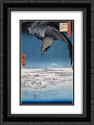 Eagle Over 100,000 Acre Plain at Susaki, Fukagawa (Juman-tsubo) 18x24 Black or Gold Ornate Framed and Double Matted Art Print by Hiroshige