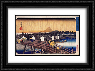 Evening Shower at Nihonbashi Bridge 24x18 Black or Gold Ornate Framed and Double Matted Art Print by Hiroshige