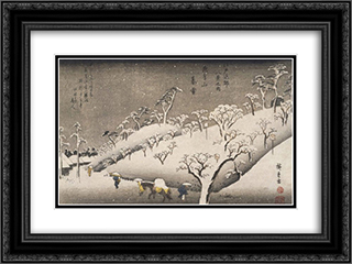 Evening Snow on the Asuka Mountain 24x18 Black or Gold Ornate Framed and Double Matted Art Print by Hiroshige