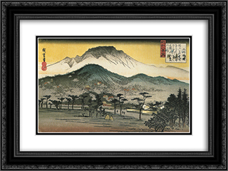 Evening view of a temple in the hills 24x18 Black or Gold Ornate Framed and Double Matted Art Print by Hiroshige