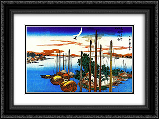 First Cuckoo of the Year at Tsukudajima 24x18 Black or Gold Ornate Framed and Double Matted Art Print by Hiroshige