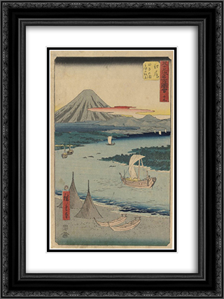 Folio From the Upright Gojusan Tsuji Tokaido 18x24 Black or Gold Ornate Framed and Double Matted Art Print by Hiroshige