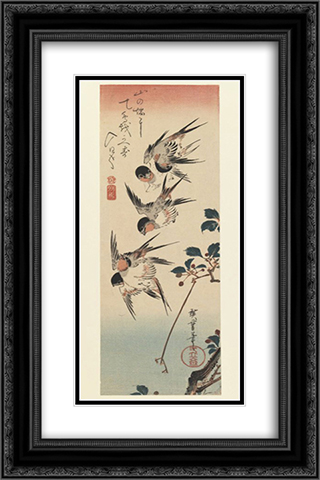 Four Swallows 16x24 Black or Gold Ornate Framed and Double Matted Art Print by Hiroshige
