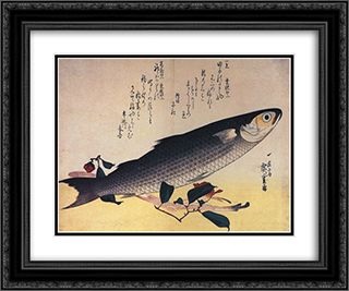 Grey mullet and camellia 24x20 Black or Gold Ornate Framed and Double Matted Art Print by Hiroshige