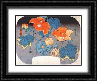 Hibiscus 24x20 Black or Gold Ornate Framed and Double Matted Art Print by Hiroshige