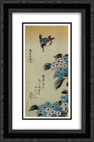 Hydrangea and Kingfisher 16x24 Black or Gold Ornate Framed and Double Matted Art Print by Hiroshige