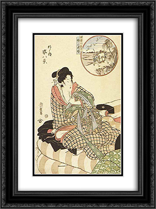 In circle, figure piece, (Outdoor)  18x24 Black or Gold Ornate Framed and Double Matted Art Print by Hiroshige