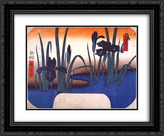 Iris 24x20 Black or Gold Ornate Framed and Double Matted Art Print by Hiroshige