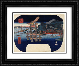 Itsukushima in Aki Province 24x20 Black or Gold Ornate Framed and Double Matted Art Print by Hiroshige