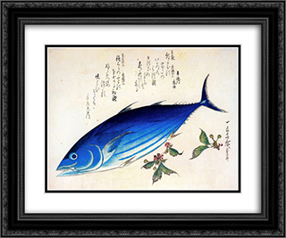 Katsuwonus pelamis 24x20 Black or Gold Ornate Framed and Double Matted Art Print by Hiroshige