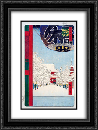 Kinryuzan Temple at Asakusa 18x24 Black or Gold Ornate Framed and Double Matted Art Print by Hiroshige