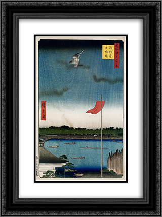 Komokata Hall and Azuma Bridge 18x24 Black or Gold Ornate Framed and Double Matted Art Print by Hiroshige