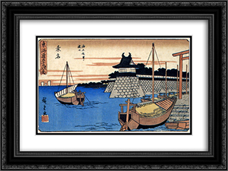 Kuwana 24x18 Black or Gold Ornate Framed and Double Matted Art Print by Hiroshige
