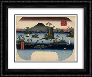 Matsushima in Oshu Province 24x20 Black or Gold Ornate Framed and Double Matted Art Print by Hiroshige