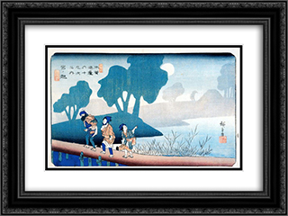 Miyanokoshi 24x18 Black or Gold Ornate Framed and Double Matted Art Print by Hiroshige