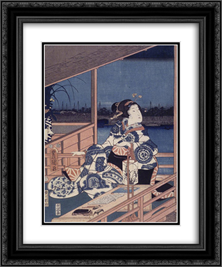 Moonlight View of Tsukuda with Lady on a Balcony 20x24 Black or Gold Ornate Framed and Double Matted Art Print by Hiroshige