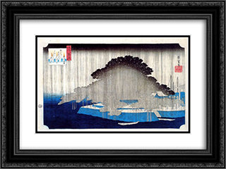 Night Rain on Karasaki 24x18 Black or Gold Ornate Framed and Double Matted Art Print by Hiroshige