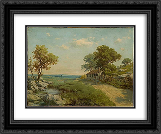 Figure Landscape 24x20 Black or Gold Ornate Framed and Double Matted Art Print by Hoca Ali Riza
