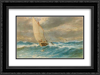 Firtinada Deniz 24x18 Black or Gold Ornate Framed and Double Matted Art Print by Hoca Ali Riza