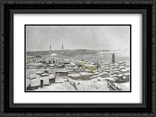 Karda uskudar 24x18 Black or Gold Ornate Framed and Double Matted Art Print by Hoca Ali Riza