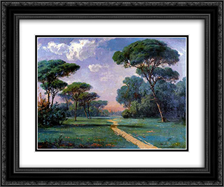 Manzara (Landscape) 24x20 Black or Gold Ornate Framed and Double Matted Art Print by Hoca Ali Riza