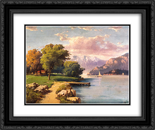 Peyzaj (Landscape) 24x20 Black or Gold Ornate Framed and Double Matted Art Print by Hoca Ali Riza